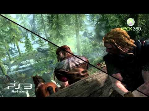 The Elder Scrolls V: Skyrim - Xbox vs Ps3 gameplay comparison video