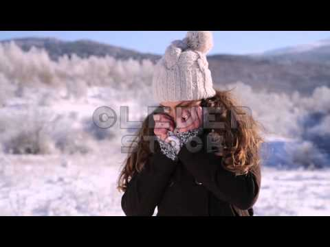 Woman Flu Freezing Cold Winter Outdoors Frostbite
