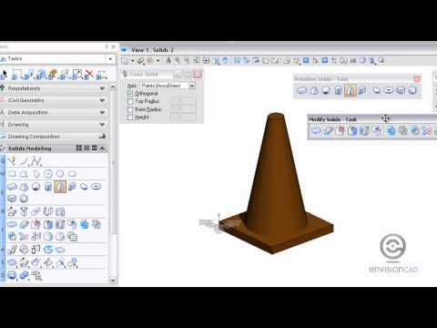 3D Primitive Solids - Slab and Cone - MicroStation V8i (SELECTseries)
