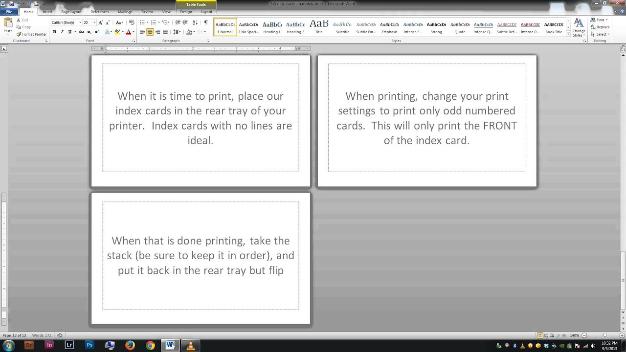note  index cards - word template