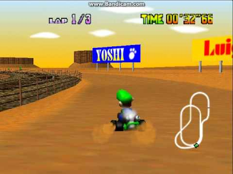 Mario Kart 64 - mario kart : 64.  the desert place with a train - User video