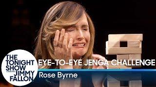 Rose Byrne Takes on the Eye-to-Eye Jenga Challenge