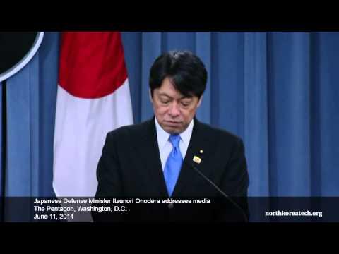 Japan Defense Minister Onodera on North Korean missile threat during Washington news conference