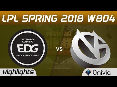 EDG vs VG Highlights Game 1 LPL Spring 2018 W8D4 Edward Gaming vs Vici Gaming by Onivia
