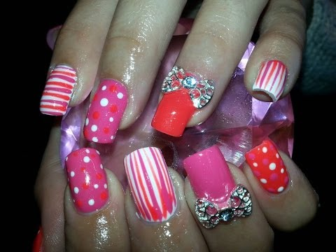Acrylic Nails With A Pink & Orange Nail Design