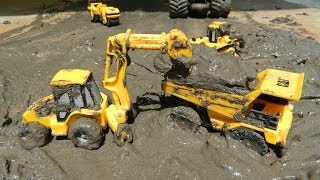 Toy Trucks In Mud CAT Construction Trucks