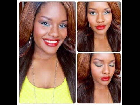 Maquillaje Casual Verde Y Azul + Labial Ruby Woo De MAC /Maquillaje Para Morenas TUTORIAL DC