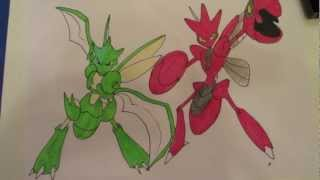 How To Draw Pokemon: No.123 Scyther, No.212 Scizor