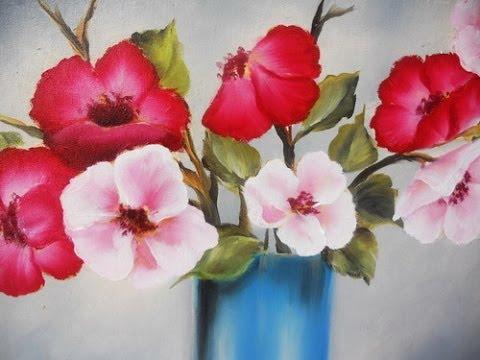 Como pintar flores en leo pinceladas silvia mongelos youtube - Flores de telas hechas a mano ...