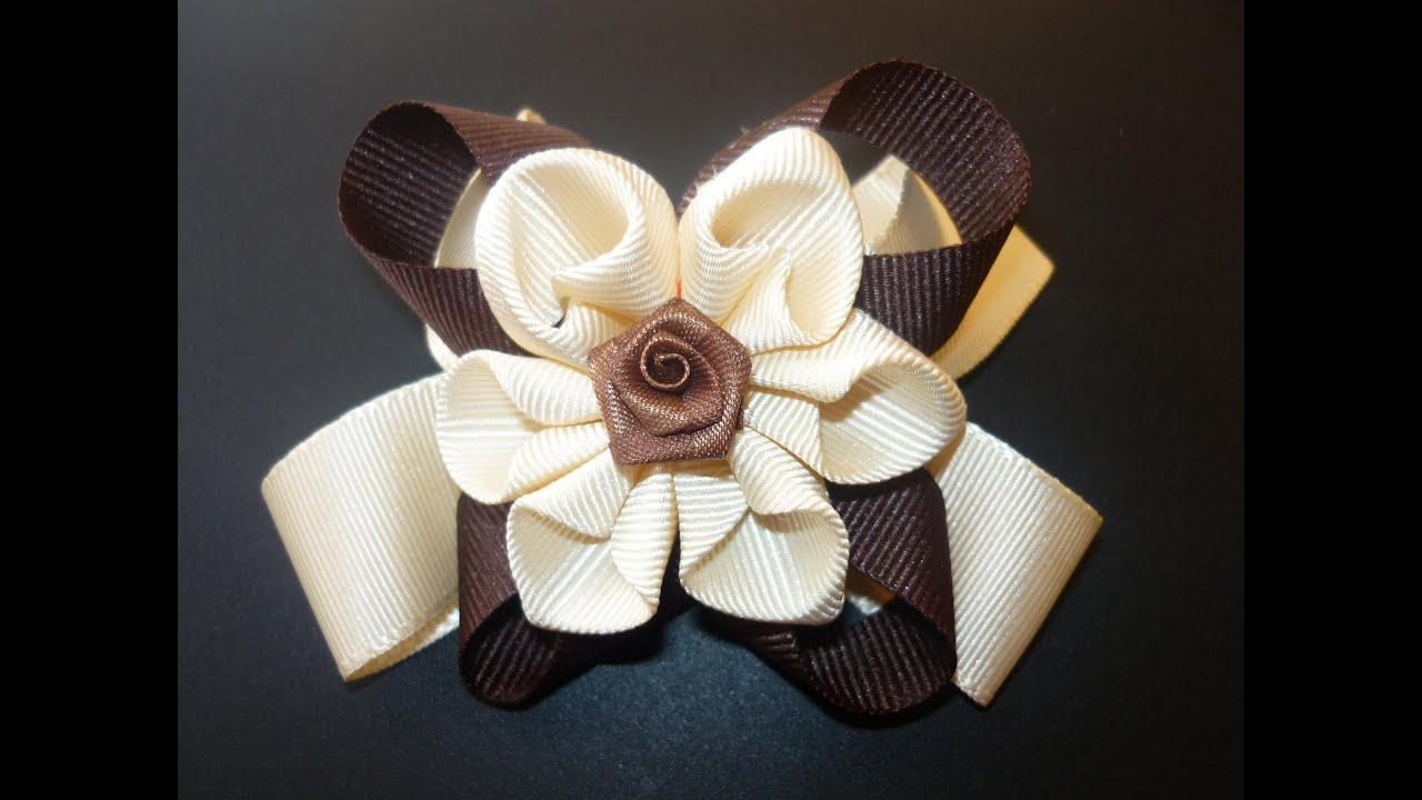 Diy flores o mo os en cintas paso a paso hair accessories - Manualidades con lazos ...