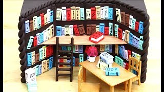 CHOCOLATE Library Cake with Miniature Books & Toys - How To Make