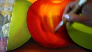 Pintando Triptico Frutas Luz A La Manzana