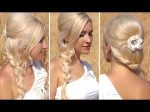 hair color side swept prom hairstyle for long hair ropeProm Hairstyles Down To The Side