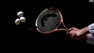 Amazing Egg Salad with Tennis Racquet in Slow Motion   Slow Mo Lab