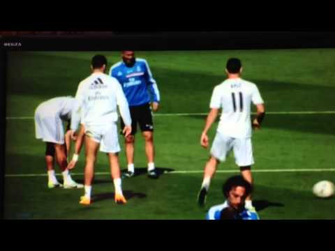 World Record Signing Gareth Bale Skins Christiano Ronaldo in Training