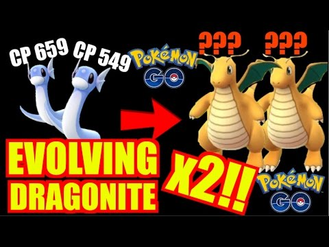 POKEMON GO EVOLVING 2X DRATINI TO DRAGONITE EPIC 2500+ CP!!