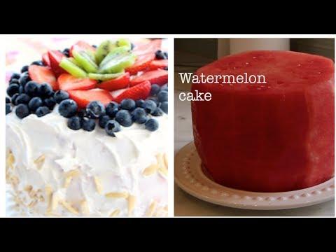 No Bake Watermelon Cake- Diet Cake Healthy Dessert