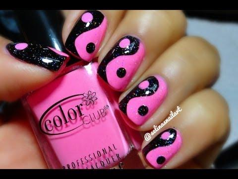 Pink & Black Yin Yang Nail Art Tutorial