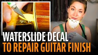 Watch the Trade Secrets Video, Waterslide decal to repair a guitar finish!
