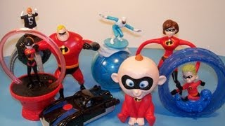 McDONALD'S THE INCREDIBLES FULL SET 1-8 HAPPY MEAL DISNEY TOY'S VIDEO REVIEW
