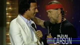 Johnny Carson as Willie Nelson Does a Duet with Julio Iglesias, 1984