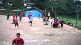 Thai students playing volleyball