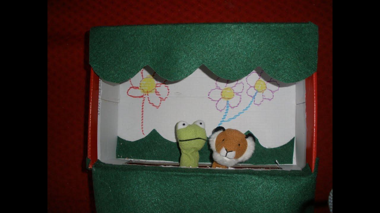 Como hacer un teatro de marionetas con caja de zapatos - Manualidades con cajas ...