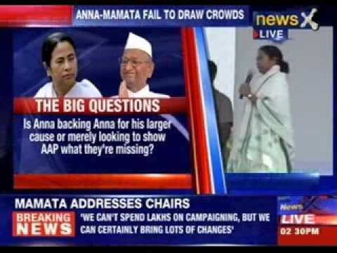 Mamata Banerjee addresses a rally at Ramlila Maidan