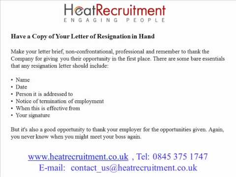 How to Resign Etiquette   Heat Recruitment Ltd