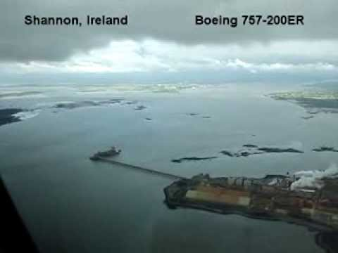 Shannon, Ireland, Boeing 757 landing on runway 06 at SNN / EINN. cockpit view