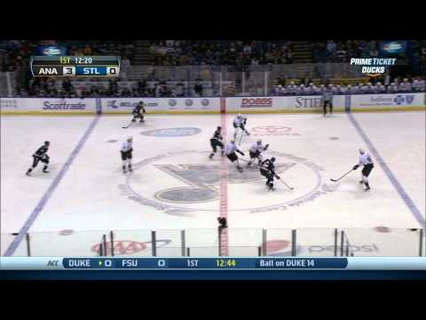 Ryan Getzlaf wrist shot goal 3-0 Anaheim Ducks vs St. Louis Blues 12/7/13 NHL Hockey.