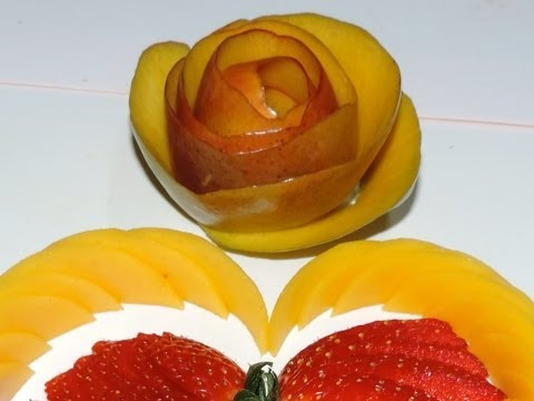 How to make a flower with mango peel Carving- Arte com fruta e legumes