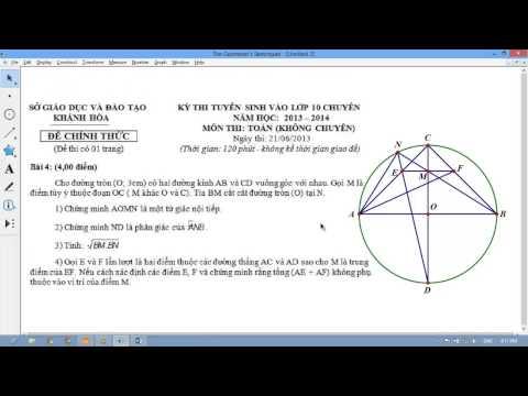 32. (Phần hình học) Các đề còn lại-Suy nghĩ và Giải chi tiết TOÁN tuyển sinh lớp 10 2013 - 2014