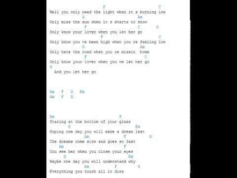 let it go lyrics with guitar chords