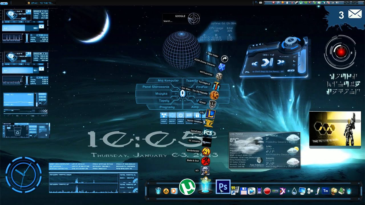God bless warez rainmeter themes windows 7 download for Bureau windows 7 rainmeter