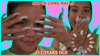 """11 YEAR OLD GETS SUPER LONG ACRYLIC NAILS FOR THE FIRST TIME """" SISTER FOREVER"""""""