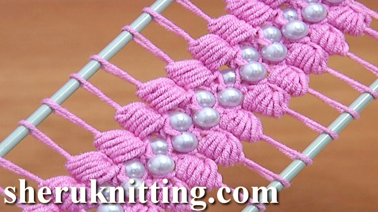 ... Lace Crochet Tutorial 38 The Puff Stitch Beaded Strip - YouTube
