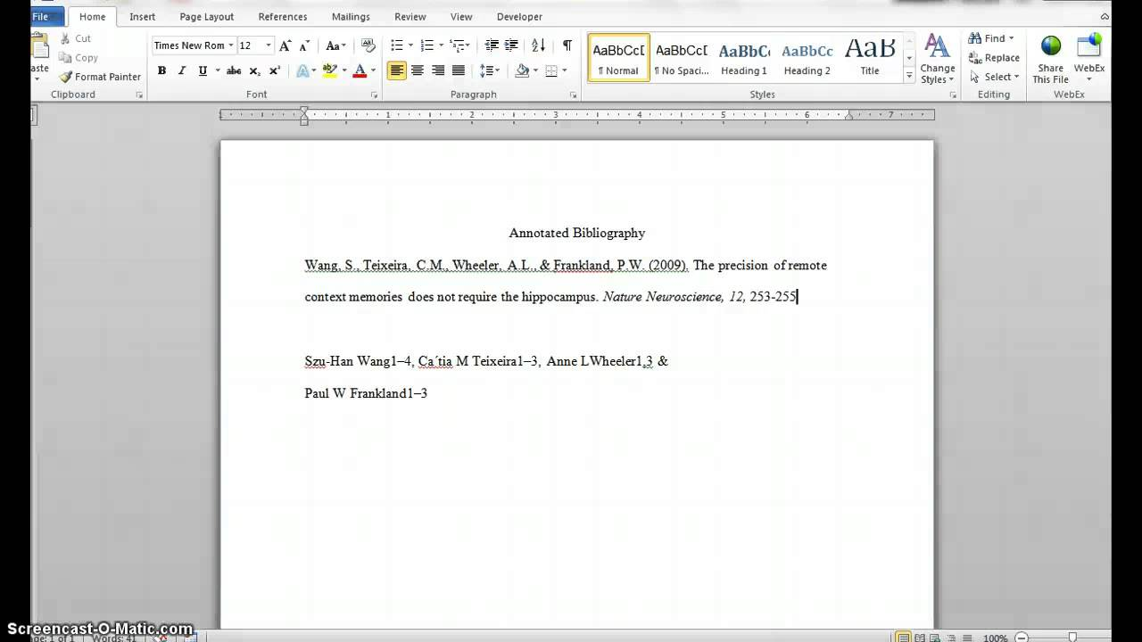 apa format for annotated bibliography