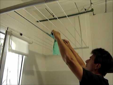 Funcionamiento tendedero de ropa sistema elevador colgante de techo youtube - Tendederos de interior ...