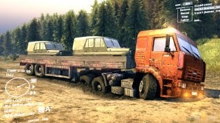 Spin Tires Dev Demo July 2013 Orange Kamaz + Trailer