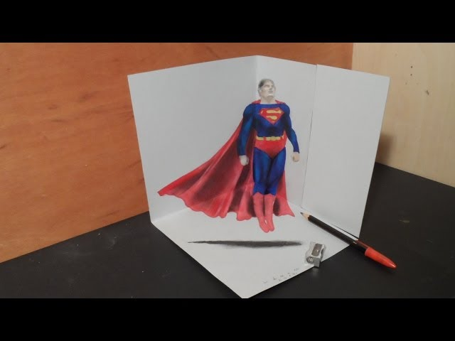 畫3D立體正在飛行的超人!