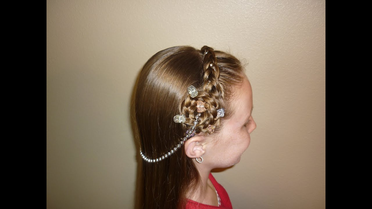 Hair Style Youtupe : Princess Hairstyles, Braided Headband With Jewels - YouTube