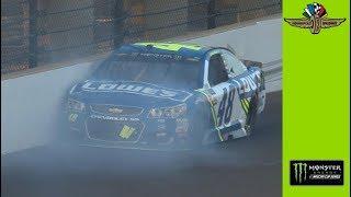 Jimmie Johnson hits wall in three-wide racing. Гонки Наскар. Смотреть видео Nascar