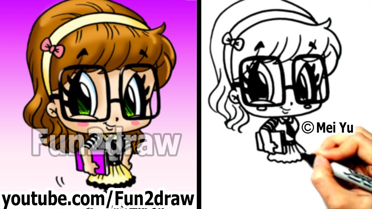 Cute drawings how to draw chibi how to draw a nerd for Fun to draw people