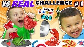 GUMMY vs. REAL FOOD CHALLENGE! LIVE Animals FUN (Chase's Corner #48 DOH MUCH FUN)