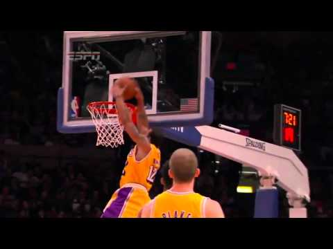 Shannon Brown sick alley oop vs. Knicks (Feb. 11, 2011)