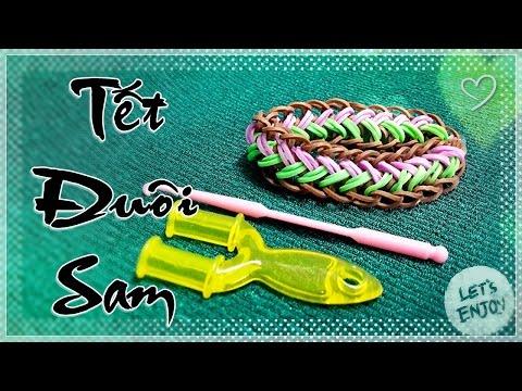 Hướng dẫn Cách làm Vòng Thun Cầu Vồng TẾT ĐUÔI SAM ♥ Rainbow Loom Mermaid Braid Bracelet.