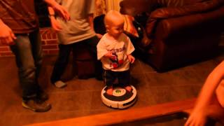 Adorable Baby Rides Roomba!  Snowboard Training Device!!