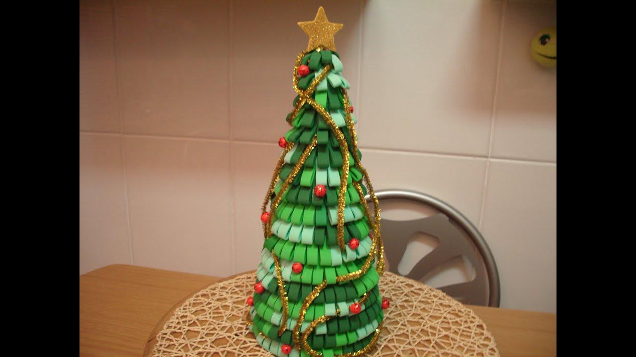 Como hacer arbol de navidad con goma eva youtube - Arbol de navidad blanco decorado ...