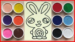 Đồ chơi trẻ em tô tranh cát thỏ bảy màu xinh đẹp Colored sand painting (Chim Xinh)